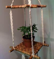 Porte plantes suspension rotin