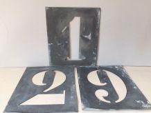 Série complète de pochoirs en zinc, chiffres