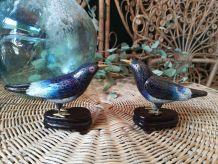 Une paire des oiseaux. Bronze cloisonné.