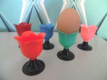 cinq coquetiers tulipe année 70