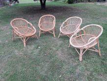 lot de 4 chaises en rotin 1970
