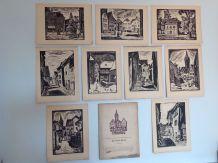 Serie de neuf gravures en noir et blanc vintage 1950