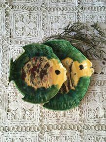 Deux plats à poisson en terre cuite  vernissée.