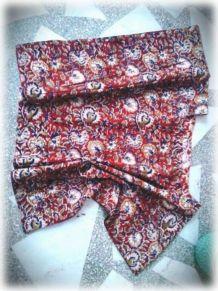 Top Caftan coton indien/block print/TU/Brique