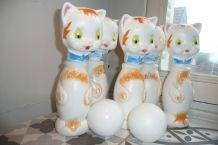 jeu de quilles vintage plastique chat