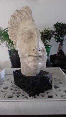 Statue en pierre visage homme brisé