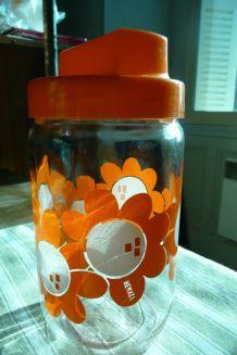 Rare bocal HENKEL fleurs oranges