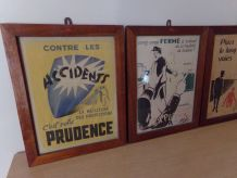 lot de 3 lithographies de prévention.