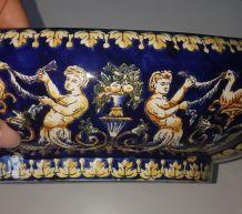 5 pieces  en Faience de Gien Bleu Renaissance + 14 assietes