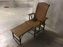 Chaise longue en rotin années 50
