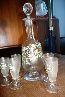 Carafe / verres soufflés peints main/ poli 1930