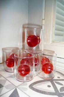 Verres vintage pastille rouge Bormioli Rocco