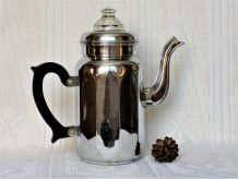 Ancienne cafetière métal cuivre chromé - verre et bakélite.