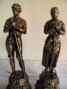 """Statue sculpture couple """"paysan"""" en cuivre"""