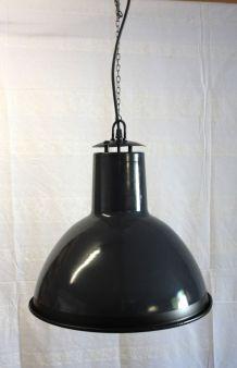 Suspension industrielle tôle émaillée gris/noir