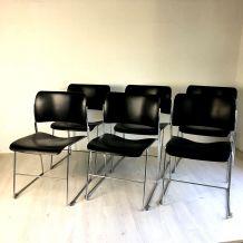 6 Chaises 40/4 noires vintage 60's par David Rowland
