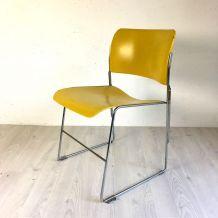 Chaise 40/4 jaune par David Rowland vintage 60's