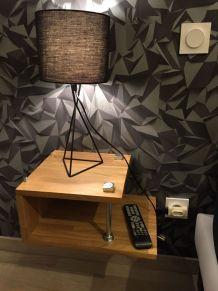 Table nuit chevet bois métal