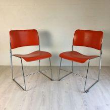 Paire de Chaises 40/4 orange vintage 60's par David Rowland