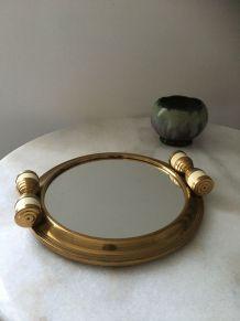 Plateau miroir aluminium doré art déco