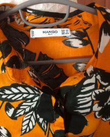 Chemise pour femme colorée orange taille XS Mango