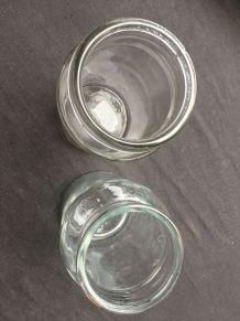 Lot de 2 pots anciens en verre transparent