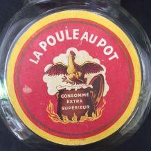 BOCAL MAGGI LA POULE AU POT Bakélite Etiquette 50s Cuisine