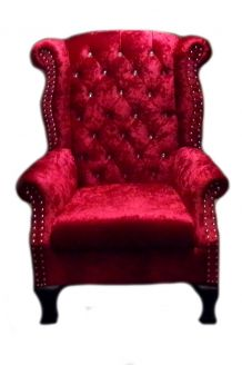 Fauteuil Chesterfield Vintage aspect Velours rouge