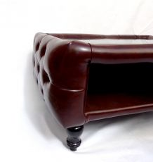 Table Basse Chesterfield Vintage aspect Cuir marron