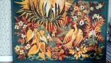 Tapisserie ancienne les oiseaux de Paradis