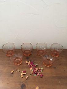Six verres rosés années 60.