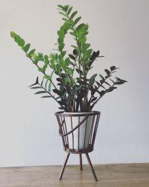 Travailleuse ou porte plante trépied en rotin