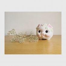 Tirelire porcelaine cochon