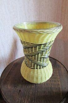 Vase verre tressé de scoubidou, année 50