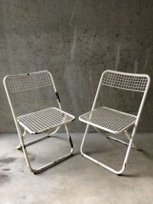 2 chaises métal pliantes Federico Giner