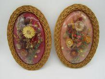 2 cadres ovales verre bombée et rotin vintage fleurs séchées