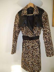 Manteau trench vintage léopard