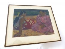 Lithographie Repro Tableau Paul GAUGUIN Femmes Tahiti
