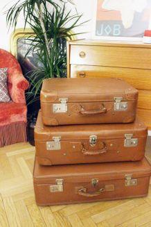 Lot de 3 valises vintage marron