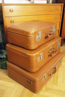 Lot de 3 valises vintage marron