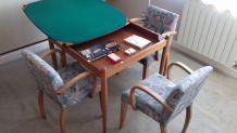 Table de bridge et ses 4 fauteuils, année 60