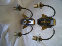 Paire appliques bronze et verre