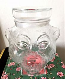 Bocal à bonbons Tête d'ours, bonbonnière ancienne en verre