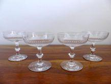 Lot 4 Coupes Cristal Baccarat Saint Louis Verres à Champagne