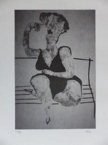 Lithographie numérotée Elisabeth Sabala