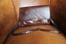 Sac Vintage en cuir acajou