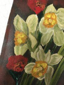 Bouquet de jonquilles et coquelicots  sur toile.