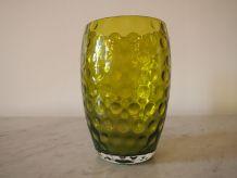 Vase vert rétro à bulles