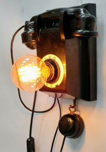 "Lampe murale industrielle, Applique vintage - ""Black Phone"""