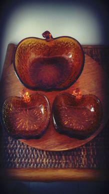 service à dessert verre ambré forme pomme